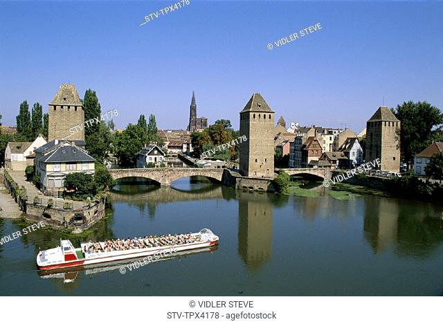 Alsace, Boat, France, Europe, Holiday, Landmark, Petite france, Ponts couverts, River ill, Strasbourg, Tour, Tourism, Travel, Va