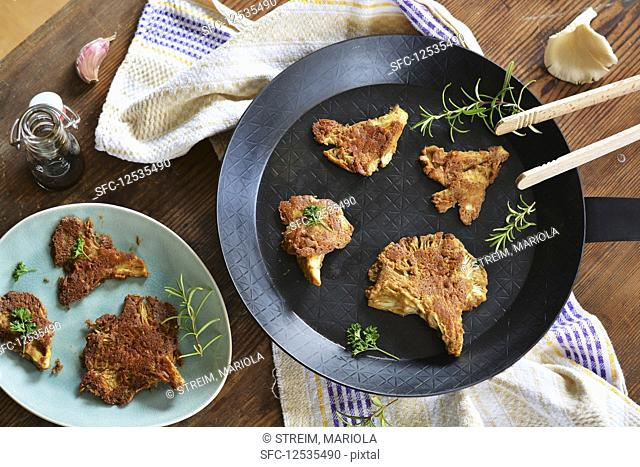 Fried oyster mushrooms in a mustard and almond coating (vegan and gluten-free)