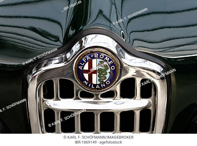 Alfa Romeo grille with logo, Giulietta Coupé from 1955, Italian vintage car