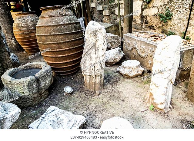 Ancient items in Bodrum Castle, southwest of Turkey