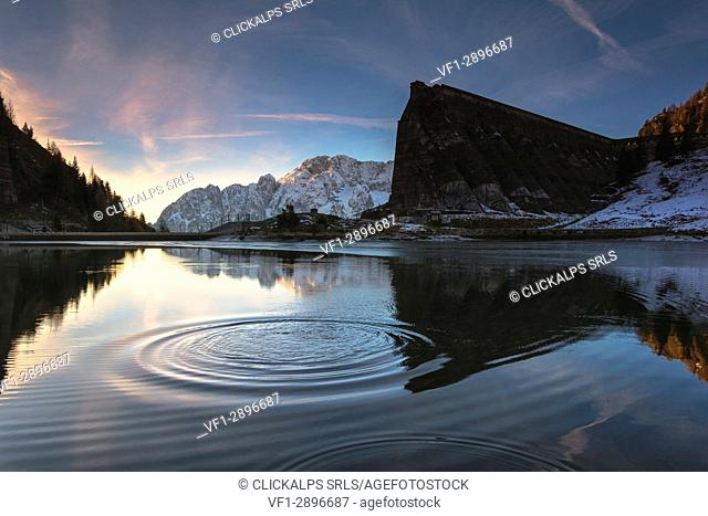 Sunrise in Gleno dam, Scalve valley, Lombardy district, Bergamo province, Italy, Europe