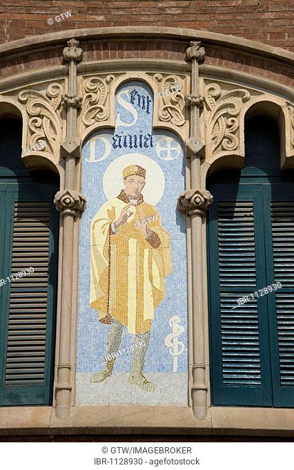 Mosaics, pPavilion, Hospital de la Santa Creu i Sant Pau, Unesco World Heritage Site, architect Luis Doménech y Montaner, Eixample District, Barcelona