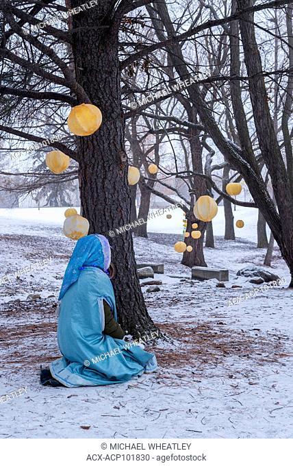 Lantern installation, Silver Skate Festival, Hawrelak Park, Edmonton, Alberta, Canada