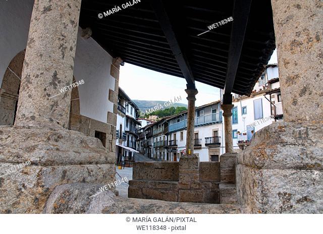 Mayor street viewed from the portico of Cristo del Refugio church. Candelario, Salamanca province, Castilla Leon, Spain