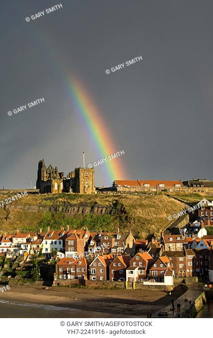 Rainbow over the Church and Abbey, Whitby, North east Yorkshire