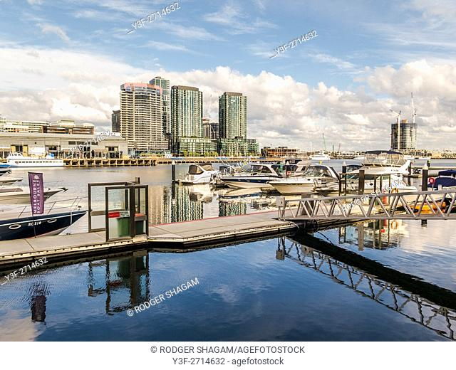 Cruising boats moored at Docklands, Melbourne, Australia