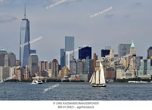 Sail ship on Hudson River in front of South Manhattan sky scrapers, Manhattan, New York City, New York, USA