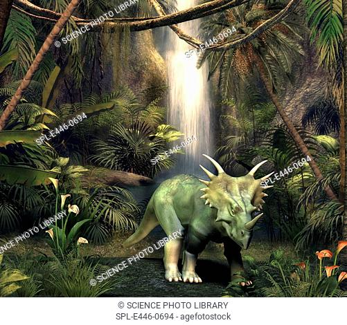 Styracosaurus dinosaur in a forest clearing, artwork. This beaked herbivore lived in North America and Asia during the late Cretaceous period