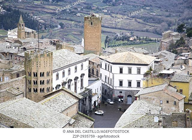 Orvieto medieval town panoramic aerial view from the top of Moro tower in Umbria, Italy, Europe