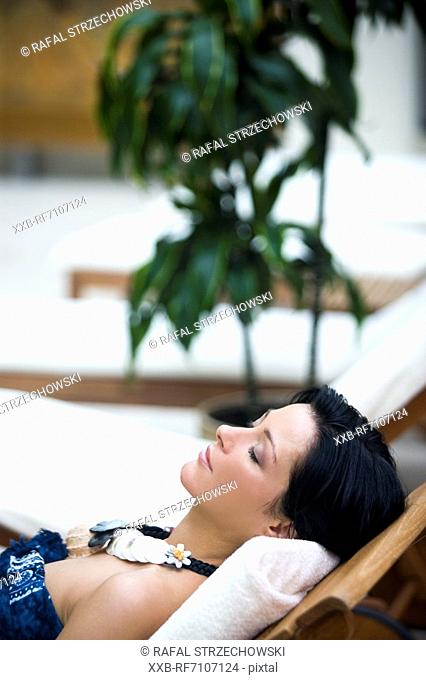 Woman on deckchair