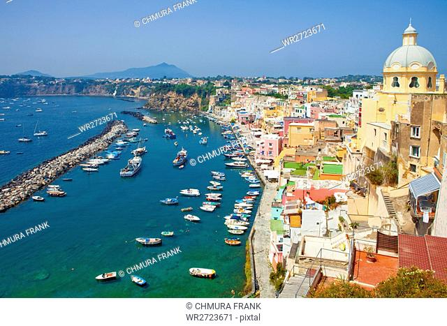 beautiful, boat, Campania, colourful, corricella, Europe, fishing, fishing-village, village, historic, house, island, Italian, Italy, landmark, Mediterranean