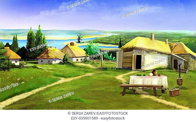 Traditional farm buildings in the old village in the depths of eastern Europe . Digital Painting Background, Illustration in cartoon style character