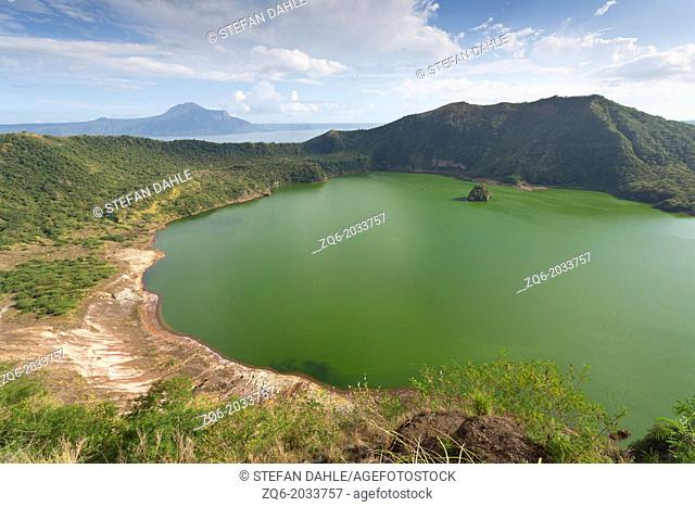 View over the Crater Lake of the Volcano Taal in the Philippines