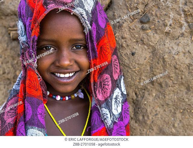 Ethiopia, Oromia, Metehara, smiling karrayyu tribe girl
