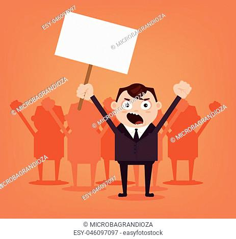 Group of angry men office workers characters protest for rights. Vector flat cartoon illustration
