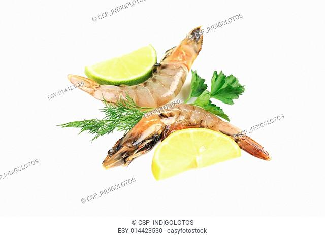 Two shrimps with lemon lime and parsley dill