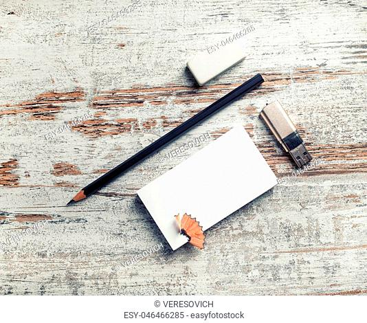 Blank paperwork template for designers. Responsive design mockup. Bank business card, pencil, eraser and flash drive. Top view