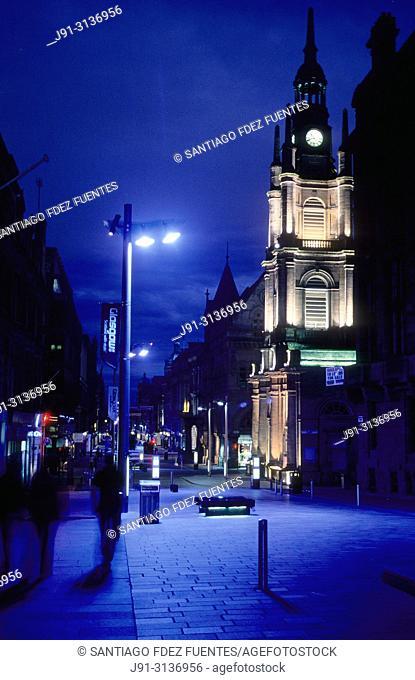 Buchanan street at night. Glasgow. Scotland