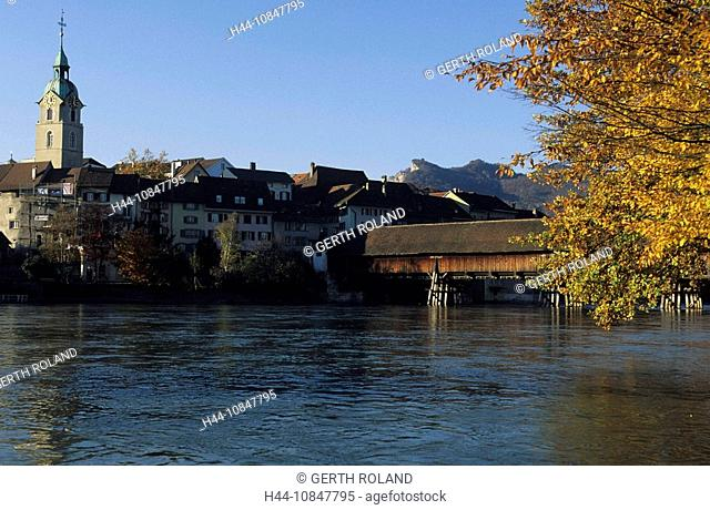 Switzerland, Europe, Canton Solothurn, town, Olten, Aare river, Old Town, church, covered bridge, wooden bridge, fall