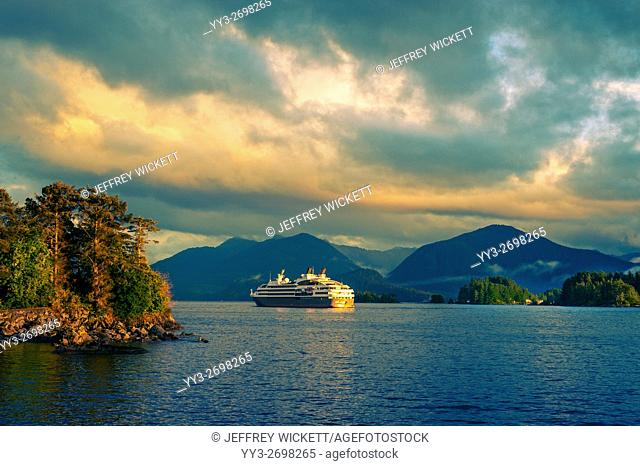 The cruise ship, Le Boreal anchored in Eastern Channel, Sitka, Alaska, USA
