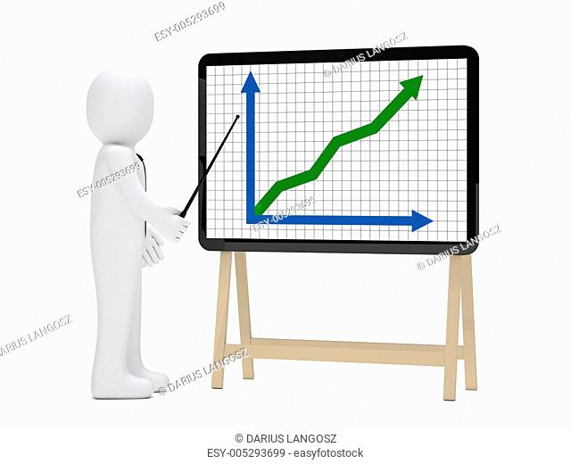 businessman signboard graph