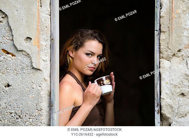 Drinking coffee teenager girl
