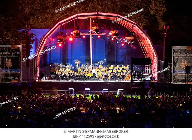 The Nuremberg Symphony Orchestra plays at the Classic Open Air Concert at the Picnic in the Park, Luitpoldhain park, Nuremberg, Middle Franconia, Franconia