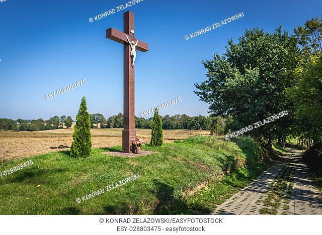 Wayside cross in Kartuzy County, Kashubia region of Pomeranian Voivodeship in Poland