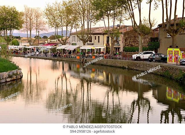 Nightfall in Canal du Midi, Trebes, Languedoc-Roussillon, France