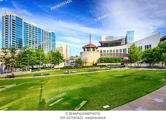 NASHVILLE, TENNESSEE - JUNE 14, 2013: Country Music Hall of Fame viewed from Music City Walk of Fame Park