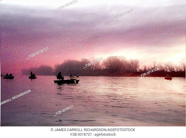 Sauger Fishermen in boats in Tennessee River