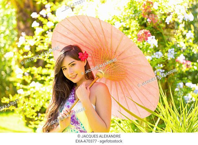 Eurasian woman portrait umbrella