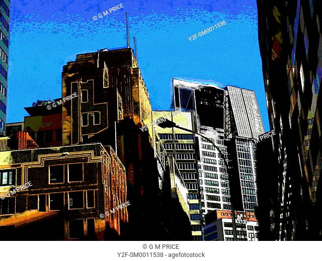sketchy, false colour image of Sydney office buildings