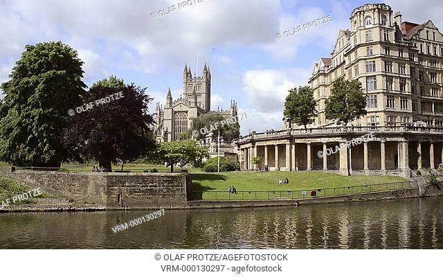 Riverbanks and Parade Gardens at the Avon River Bath Somerset England