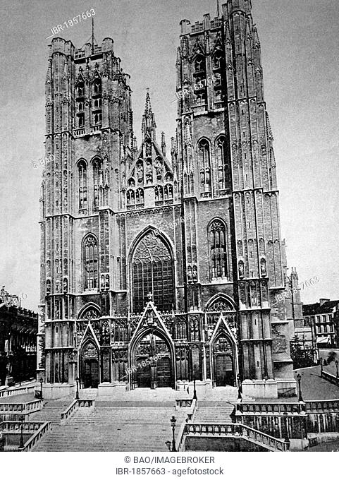 Early autotype, St. Michael and St. Gudula Cathedral, Brussels, historical picture, 1884