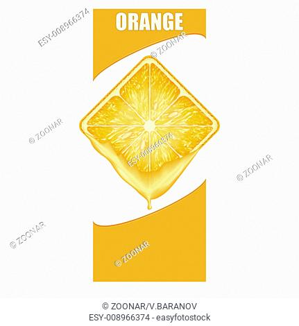 Vertical Banner of orange square slice. Space for text
