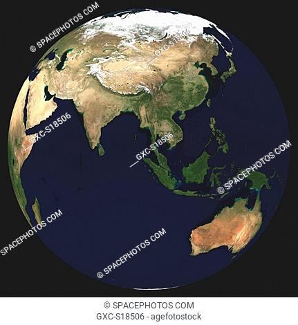 Earth in Space, one can see China, Russia, Indonesia, India, the Pacific Ocean, Australia, the Indian Ocean, Saudi Arabia, Africa