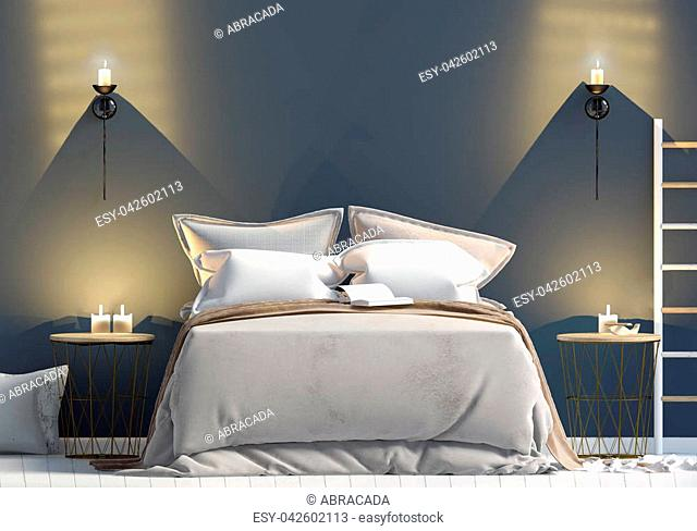 Mock up wall in bedroom interior. Bedroom Scandinavian style. 3d illustration
