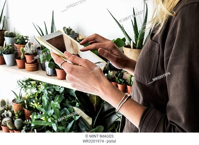Close up of female owner of plant shop holding digital tablet, a selection of plants on wooden shelves