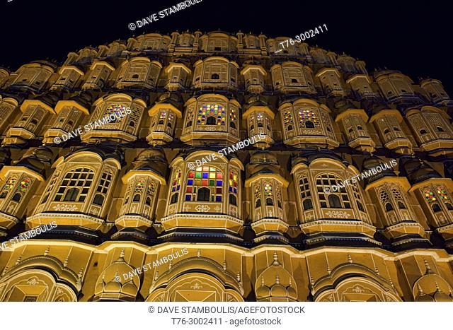 The amazing red sandstone Hawa Mahal (Palace of the Winds), Jaipur, India