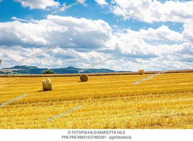 Stubble field between Dankelshausen and Bühren, Samtgemeinde Dransfeld, Göttingen District, Lower Saxony, Germany, summer 2017 / Stoppelfeld zwischen...