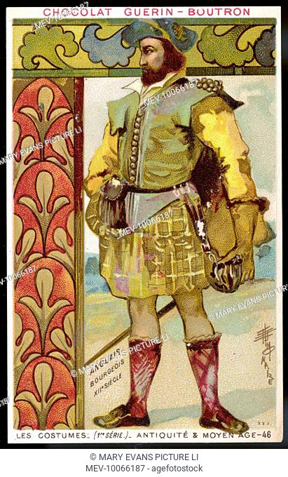 A middle-class Englishman (or, more likely, Scotsman, judging by his kilt and tartan socks?) in travelling costume, with moneybag at his belt and another bag at...
