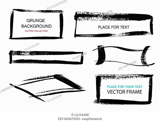Grunge frames and rectangles on a white background. Hand drawn rectangle. Vector illustration