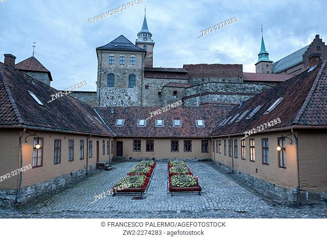 Inside view of Akershus Fortress medieval castle built to protect. Oslo, Ostlandet. Norway