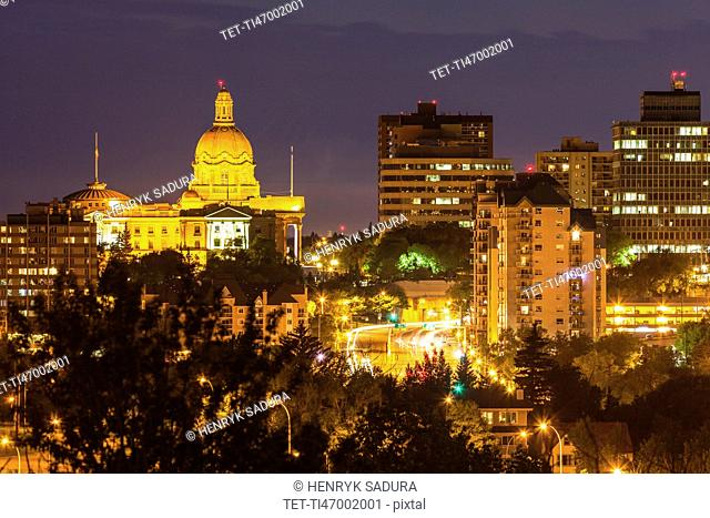 Canada, Alberta, Edmonton, Cityscape at night