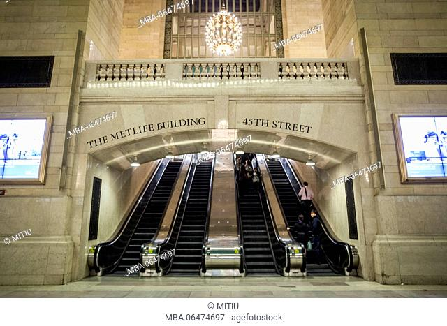 Grand Central station from the inside and entrance to the MetLife Building, Manhattan, New York city, New York, the USA, North America