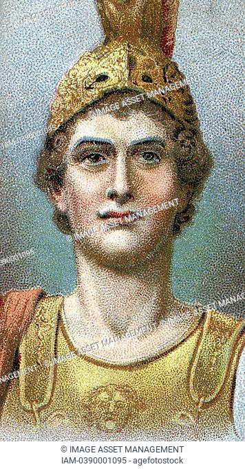 Alexander the Great Alexander III of Macedon 356-323 BC  Chromolithograph of 1924 showing head and shoulders of Alexander in helmet