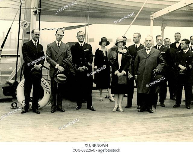 HRH Umberto di Savoia visiting the liner Conte Grande , Naples, Italy