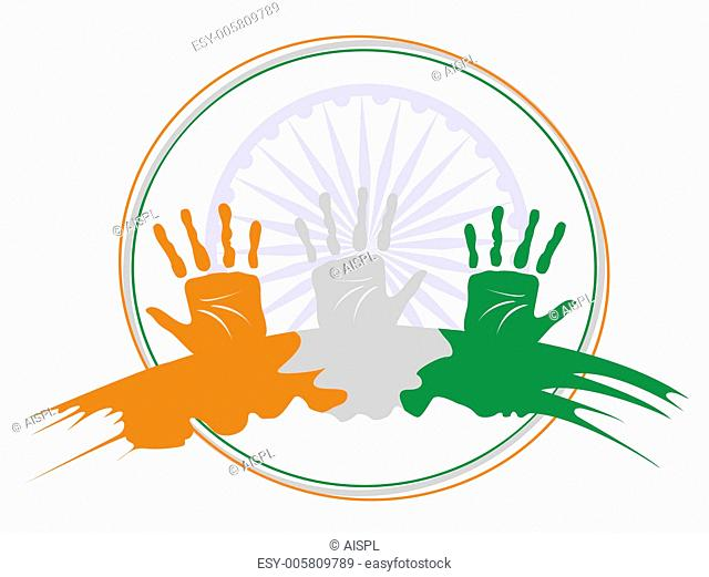 A vector illustration of three hands colored in an Indian Nation