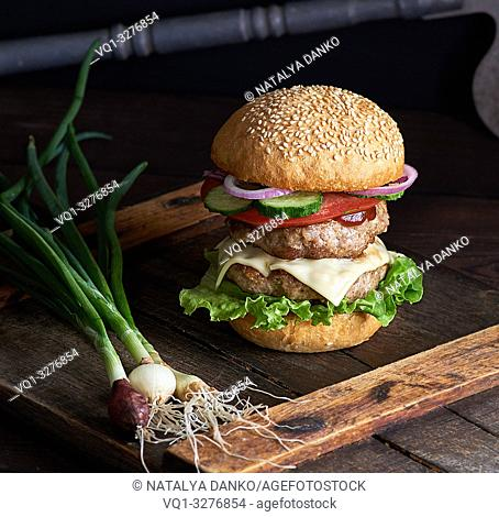 sandwich with two meat cutlets, cheese and vegetables, a cheeseburger on a brown wooden board